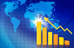 Financial bar charts with world maps Royalty Free Stock Photos