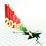 2018 financial bar graph going down. 2018 bar graph and moving down arrow. 3d rendered illustration Royalty Free Stock Photo