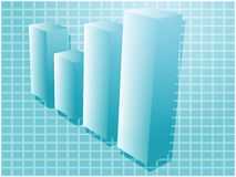 Financial barchart. Three-d barchart financial diagram illustration over square grid Stock Image