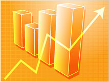 Financial barchart. Three-d barchart and upwards line graph financial diagram illustration over square grid Royalty Free Stock Image
