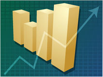Financial barchart. Three-d barchart and upwards line graph financial diagram illustration over square grid Stock Image