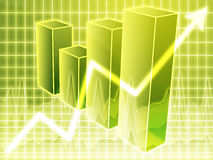 Financial barchart. Barchart and upwards line graph financial diagram Stock Photography