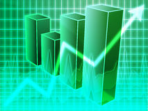 Financial barchart. Barchart and upwards line graph financial diagram Stock Photo