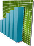 Financial barchart. Three-d barchart and upwards line graph financial diagram illustration over square grid Stock Images
