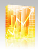 Financial barchart box package. Software package box Barchart and upwards line graph financial diagram Stock Photos