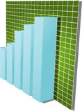 Financial barchart illustration. Three-d barchart and upwards line graph financial diagram illustration over square grid Stock Images