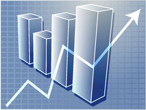 Financial barchart illustration. Three-d barchart and upwards line graph financial diagram illustration over square grid Stock Image
