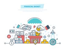Financial basket. Finance balance, investment wealth. Budget planning, income growth. Financial basket. Finance balance and investment wealth. Budget planning Royalty Free Stock Images