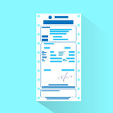 Financial bill document, invoice order payment. Check flat design vector illustration Royalty Free Stock Photography
