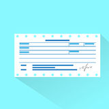 Financial bill document, invoice order payment. Check flat design vector illustration Stock Photo