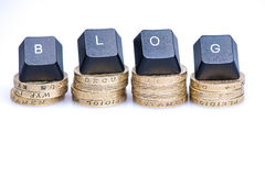 Financial blog header on coins Royalty Free Stock Photography