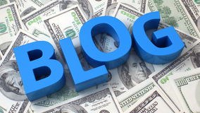 Financial blog. Word Blog on the background of one hundred dollar bills Royalty Free Stock Photos