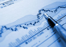 Financial blue chart background Stock Photography