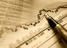 Financial blue chart background Stock Images