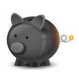 Financial Bomb. Illustration of financial bomb in shape of piggy bank Royalty Free Stock Image