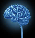Financial Brain. Business concept with a human thinking organ and a dollar symbol integrated in the gray matter as an icon of thinking of a strategy to make and Royalty Free Stock Photo