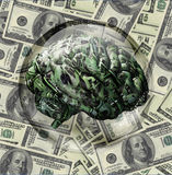 Financial Brain. US currency brain enclosed in sphere Stock Photography
