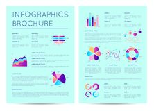 Financial brochure with indicators diagrams. Abstract data visualization, financial graph, stock index cartogram, investment report vector illustration Stock Photography