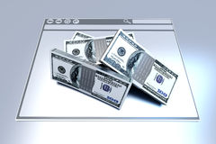 Financial Browser. Dollars in a Browser window. 3D rendered illustration Royalty Free Stock Photo