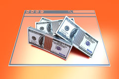 Financial Browser. Dollars in a Browser window. 3D rendered illustration Stock Photos