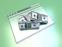 Financial Browser. Dollars in a Browser window. 3D rendered illustration Stock Image