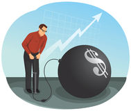 Financial bubble. Businessman is inflating a big bubble with the money symbol. Financial Crisis Concept Royalty Free Stock Images