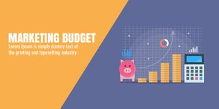 Financial budget for marketing strategy development, team building, investment for digital marketing and social media. Concept of marketing budget, money graph Stock Photos