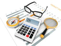 Financial And Budget Planning With Chart. Financial and budget planning concept with calculator notebook and financial chart report on work desk Stock Image
