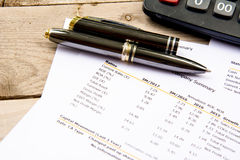 Financial budget statement read and check the number for analysis invest stock business target stock photography