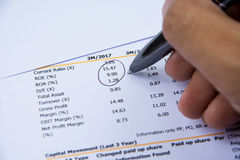 Financial budget statement read and check the number for analysis invest stock. Business target royalty free stock photo