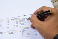 Financial budget statement read and check the number for analysis invest stock. Business target stock images