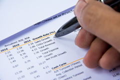 Financial budget statement read and check the number for analysis invest stock. Business target stock photography