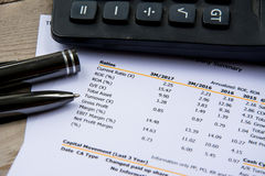 Financial budget statement read and check the number for analysis invest stock. Business target stock photos