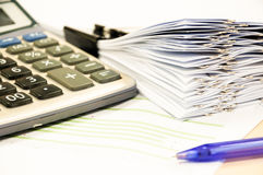 Financial budget statement read and check the number for analysi. S invest stock business target royalty free stock photo