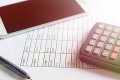 Financial budget stock market investment. Document of financial budget stock market investment chart and calculator on the desk Royalty Free Stock Images