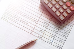 Financial budget stock market investment. Document of financial budget stock market investment chart and calculator on the desk Royalty Free Stock Photos