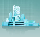 Financial building. Illustration of a stock exchange building Stock Photo