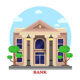 Financial building or bank architecture exterior. Financial building facade or bank architecture exterior with pillar or column and bushes or trees on sides with Stock Images