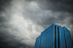 Financial Building With Stormy Sky Royalty Free Stock Photography