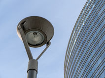 Financial buildings. Street light and financial building Stock Photos