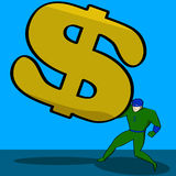 Financial burden. Cartoon illustration showing a superhero trying to hold off a giant dollar sign Royalty Free Stock Image