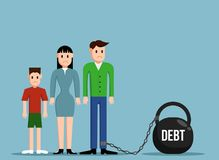 Simple Working Family in Debt Confined to Heavy Weight Flat Design. Financial burden and responsibility concept Royalty Free Stock Images