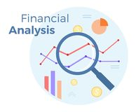 Financial Business analysis vector flat illustration. Concept of accounting, analysis, audit, financial report. Auditing. Tax process. EPS 10 Stock Photography