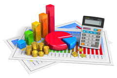 Financial business analytics concept. Financial business, analytics, banking and accounting concept: pie chart, bar graph, golden coins and office calculator on Royalty Free Stock Image