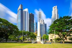 Financial, business building landmark and museum in central park at singapore city royalty free stock images