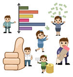 Financial and Business Cartoon Graphic. Cartoon Business Concepts Graphics Vector Illustrations Stock Photography