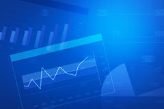 Financial and business chart and graphs. Blue tone Stock Photos