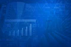 Financial and business chart and graphs. Blue tone Stock Photo