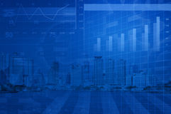 Financial and business chart and graphs on city background Stock Photos
