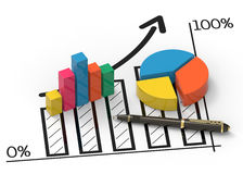Financial business chart and graphs Stock Image